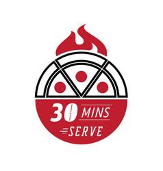 Fresh pizza 30 minutes serve vector