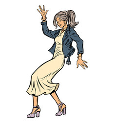 girl in elegant dress woman disco dance isolate vector image