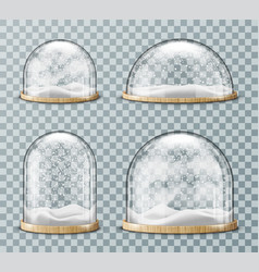 Glass dome with snow realistic vector