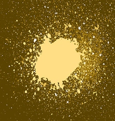 gold paint splash splatter and blob on golden vector image