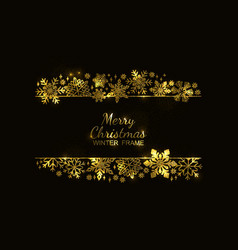 gold snowflake frame black background xmas vector image