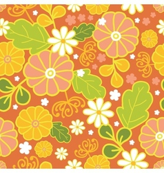 Golden flowers seamless pattern background vector image