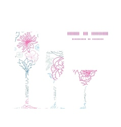 gray and pink lineart florals three wine vector image