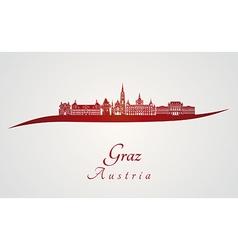 Graz skyline in red vector image