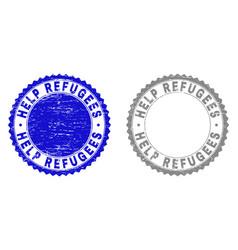 Grunge help refugees textured watermarks vector