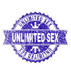 Grunge textured unlimited sex stamp seal with vector
