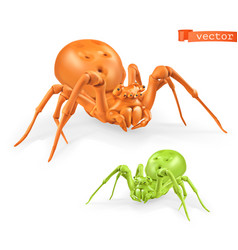 Halloween orange and green spiders thomisidae 3d vector