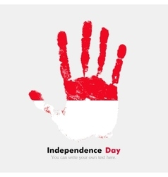 Handprint with the Flag of Indonesia in grunge vector