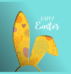 Happy easter spring card with paper cut bunny ears vector