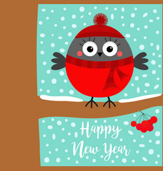 happy new year bullfinch winter bird on rowan vector image