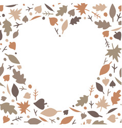 heart shape frame from multi-colored autumn leaves vector image