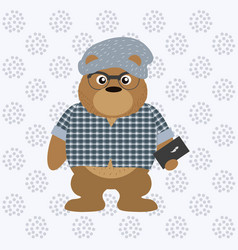 hipster bear with smartphone cartoon vector image