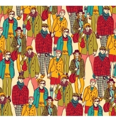 Hipster fashion crowd people color vector