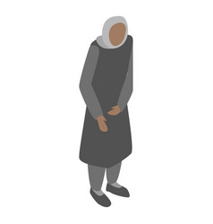 Homeless migrant woman icon isometric style vector