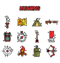 hunting flat concept icons vector image