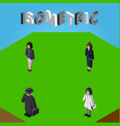 Isometric people set of doctor businesswoman vector
