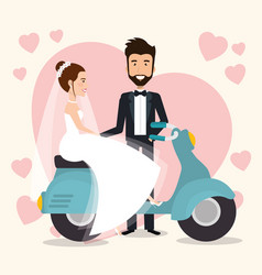 just married couple in motorcycle avatars vector image