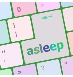Keyboard with enter button asleep word on it vector