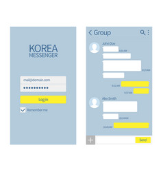 korean messenger kakao talk interface with chat vector image