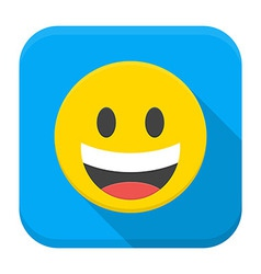 Laughing yellow smile flat app icon with long vector image