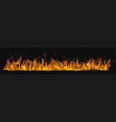 Long horizontal fire flame with smoke vector