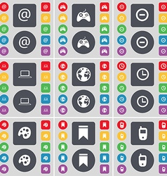 Mail gamepad minus laptop earth clock palette vector