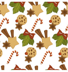 merry christmas baked cookies with chocolate and vector image