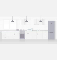 modern new light interior kitchen with white vector image