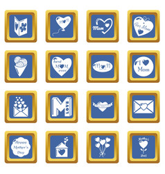 mother day icons set blue square vector image