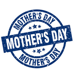 Mothers day blue round grunge stamp vector