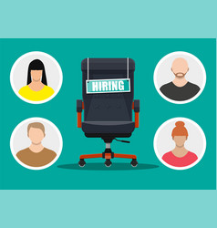 office chair and sign vacancy in hand boss vector image
