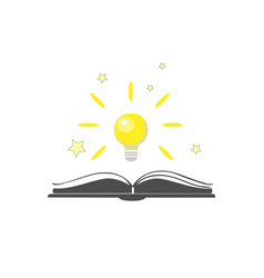 open book icon with shining bulb over it vector image