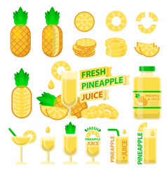 Pineapple and fresh juice flat elements vector