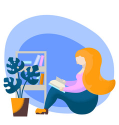 reading girl with book flat vector image
