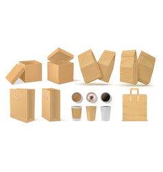 realistic fast food pack 3d paper snack and vector image