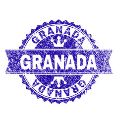 Scratched textured granada stamp seal with ribbon vector