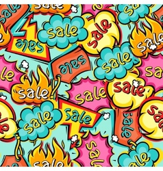 Seamless pattern of sale speech bubbles and labels vector image