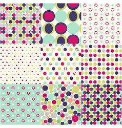 seamless patterns polka dot set vector image