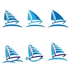 set boats logos vector image
