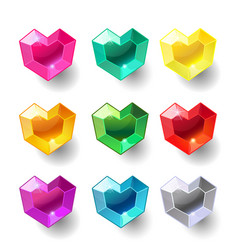 set cartoon heart different color crystals vector image