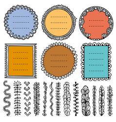 Set doodle frames vignettes and dividers vector