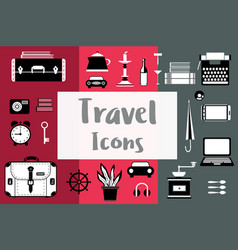 set flat travel icons in a flat style with a vector image