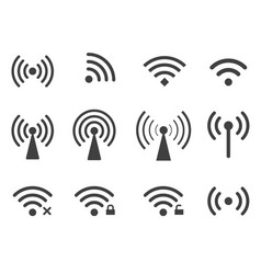 set of wireless wifi icons isolated on white vector image