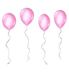 Set pink watercolor balloons isolated on white vector