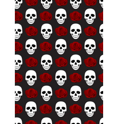 skull and roses seamless pattern on black vector image