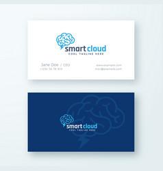 Smart cloud abstract logo and business card vector