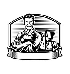 Smiling barista with the espresson machine vector