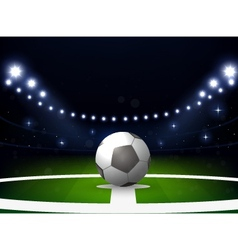 Soccer stadium with ball and spotlight at night vector