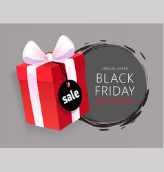 Special advert on black friday wrapped gift box vector