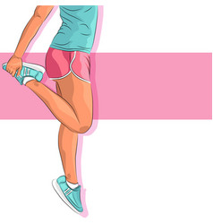 sporty young girl in sportswear and sneakers vector image